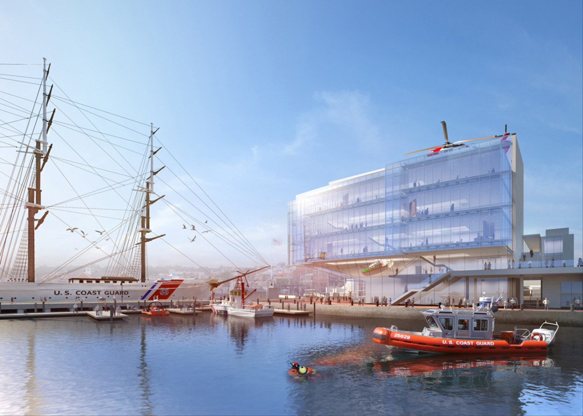 This is a rendering of the National Coast Guard Museum, which will be built in New London, Conn.