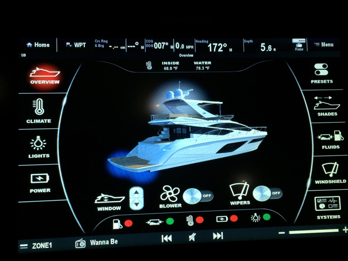 "Owners can touch use the touch screens to do everything from adjusting the air conditioning to changing the outside lights from blue to white and choosing preset options, such as ""romantic dinner."""