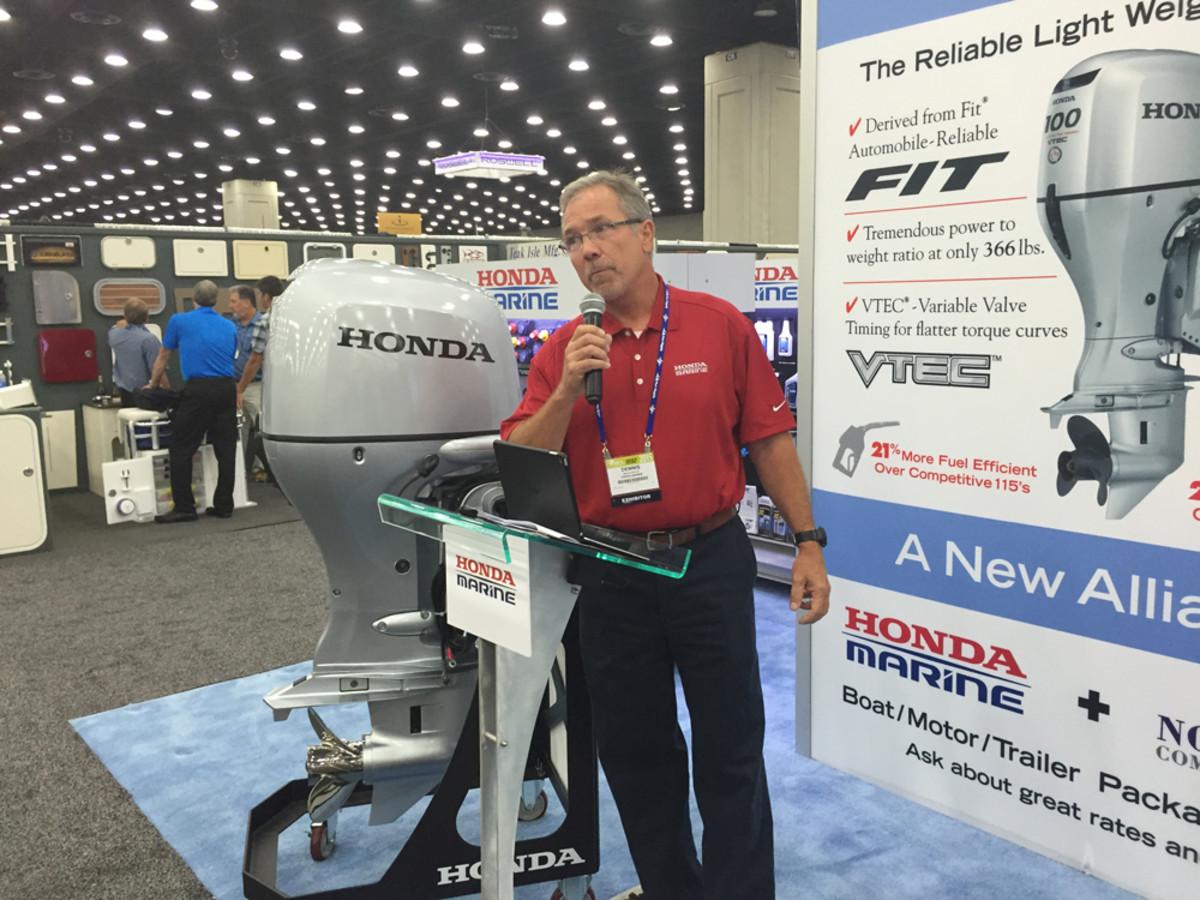 Dennis Ashley of Honda explains the performance and value benefits of the Honda BF100.
