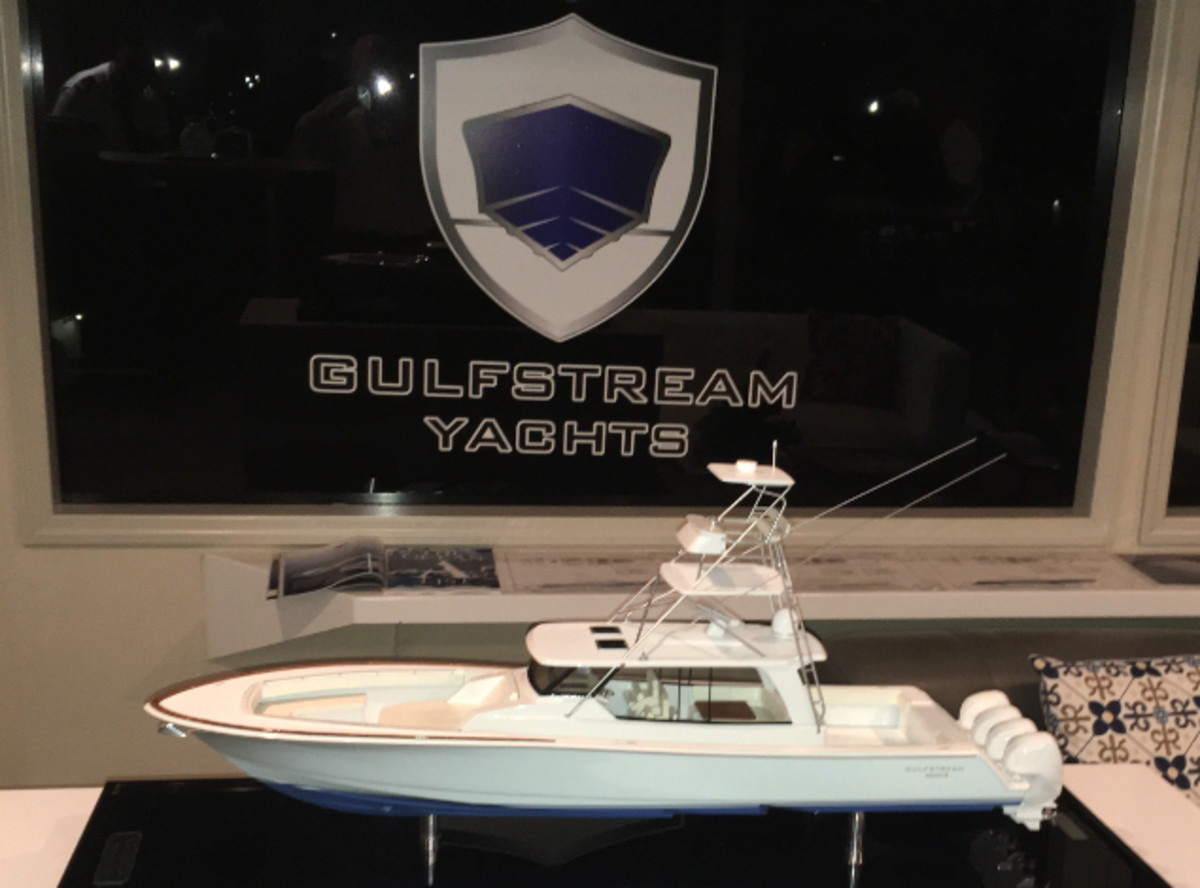 Gulfstream Yachts of Tampa, Fla., had a display with a scale model of its 52-foot center console in the VIP Lounge at the Yachts Miami Beach show.