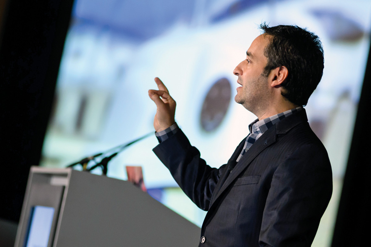 Opening keynote speaker Josh Linkner tried to inspire his audience to innovate through unconventional methods.