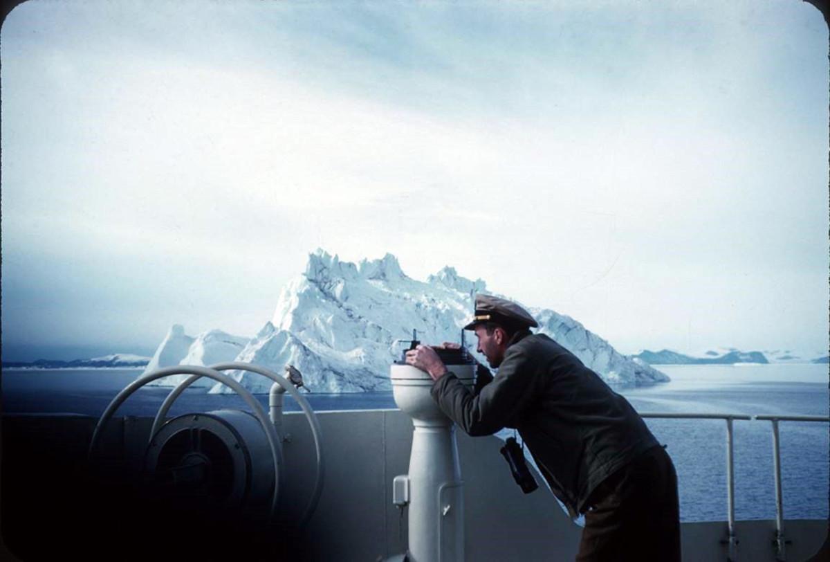 J. David Power III is shown navigating the Coast Guard icebreaker Eastwind in 1955.
