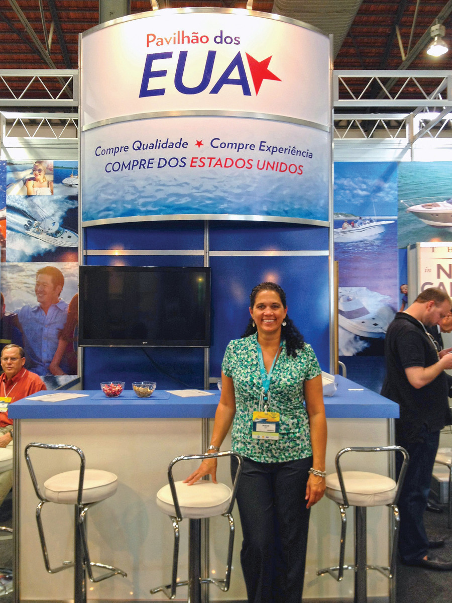 Balzano welcomes visitors to the USA Pavilion at the Rio de Janeiro International Boat Show. The NMMA has run the pavilion since 2013.