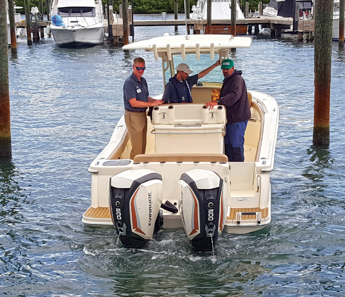 Evinrude installed iDock on two boats, enabling the boating writers to see for themselves how smoothly it performed.