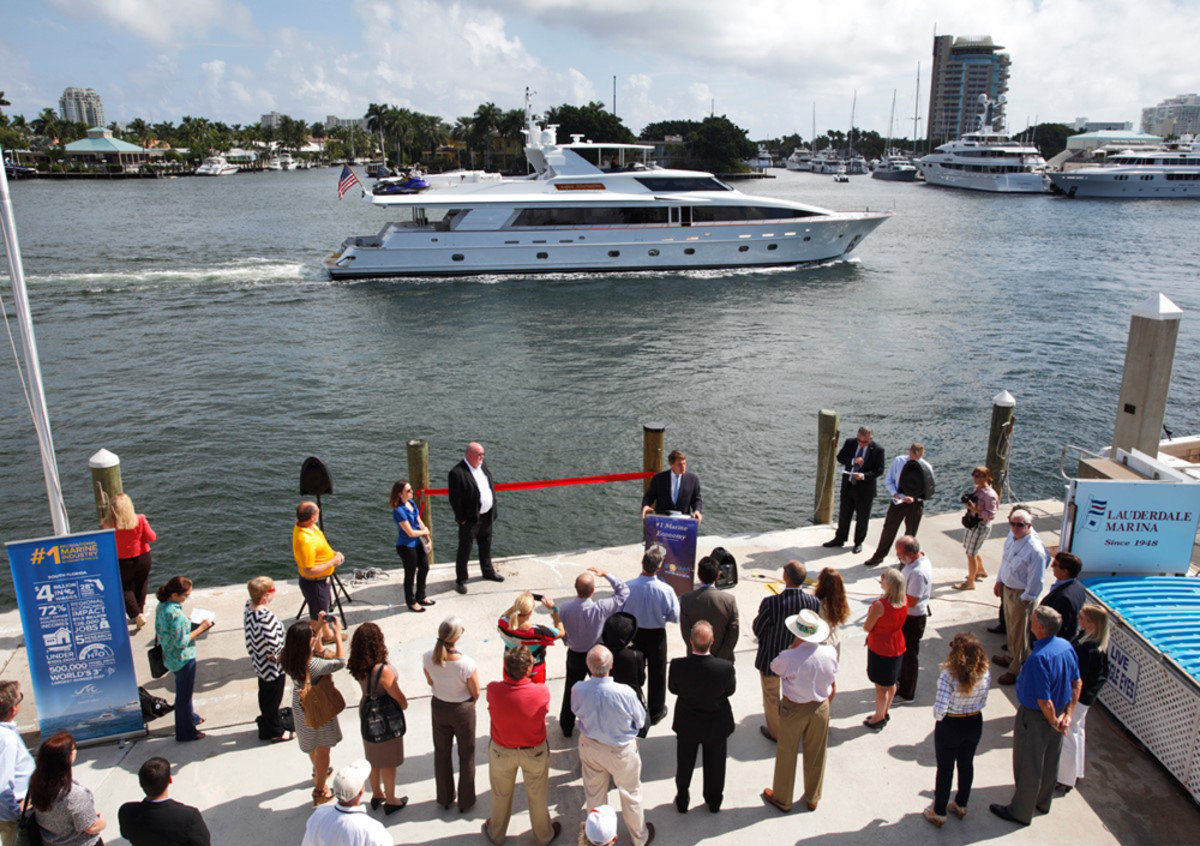A press conference was held Wednesday at Lauderdale Marina to announce the award of a $20 million contract to dredge the Intracoastal Waterway to a depth of 17 feet from the 17th Street Causeway Bridge to Sunrise Boulevard in Fort Lauderdale. CREDIT: J. Christopher/Marine Industries Association of South Florida