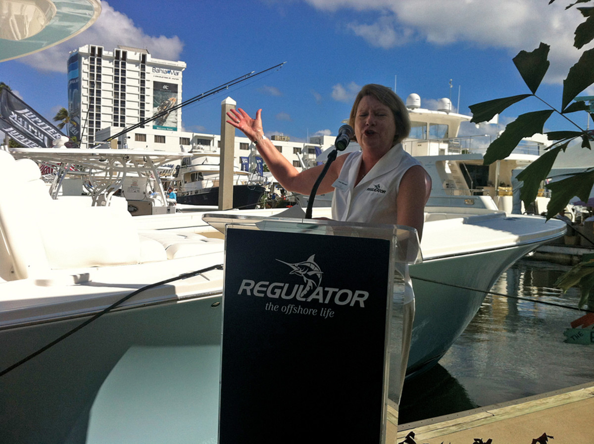 Regulator Marine president Joan Maxwell introduces the Regulator 41 today at the Fort Lauderdale show.