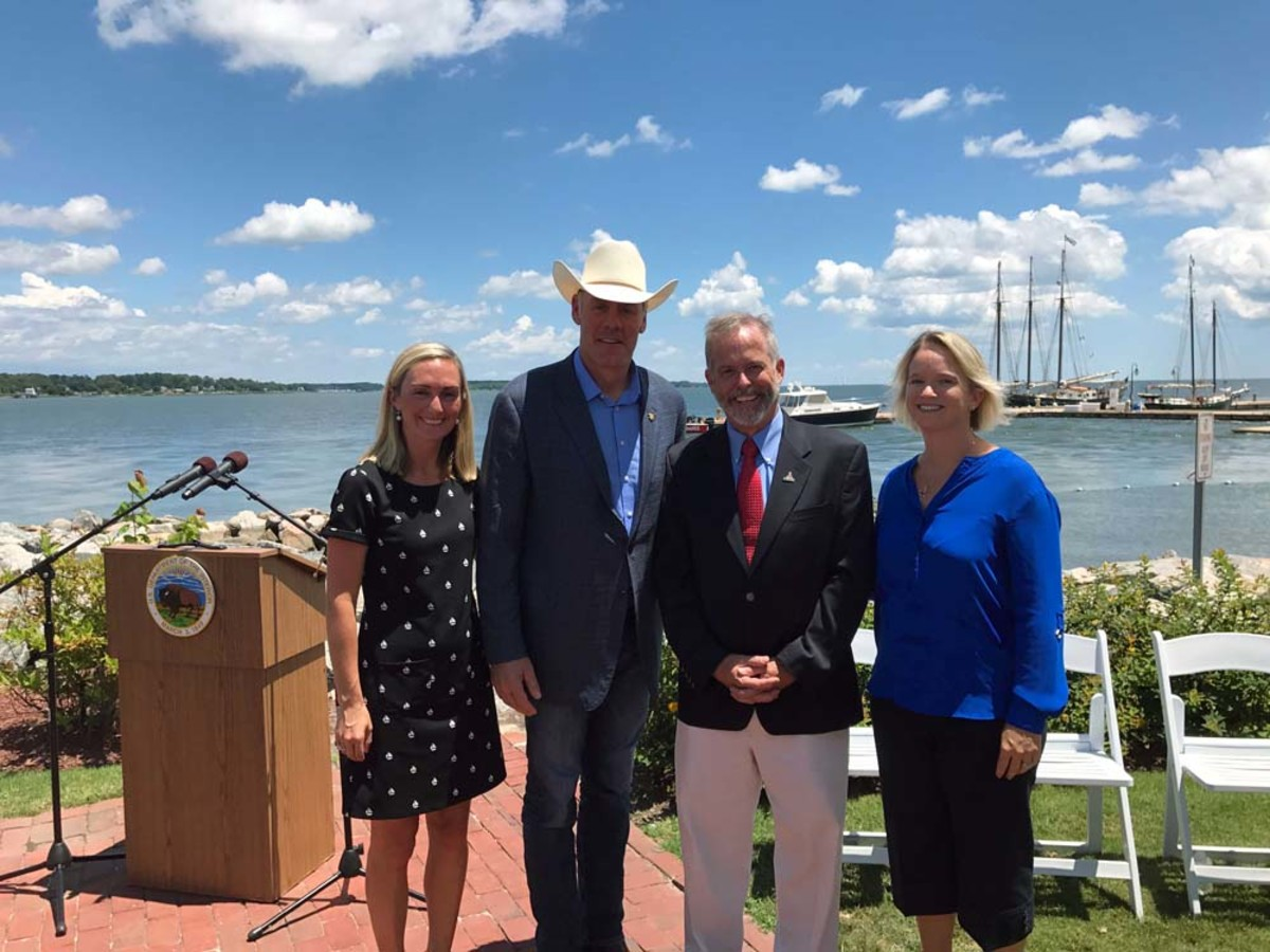 From left are Morgan Neuhoff, government affairs program coordinator for BoatUS; Interior Secretary Ryan Zinke; BoatUS public affairs vice president Scott Croft; and BoatUS membership vice president Heather Lougheed.
