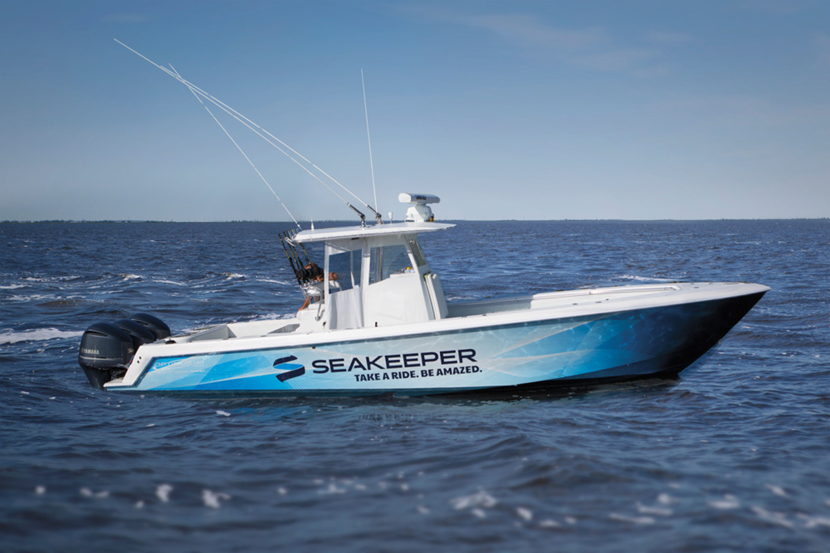 Seakeeper offers demo rides to show the effectiveness of gyroscopic stabilization on this deep-vee Contender.