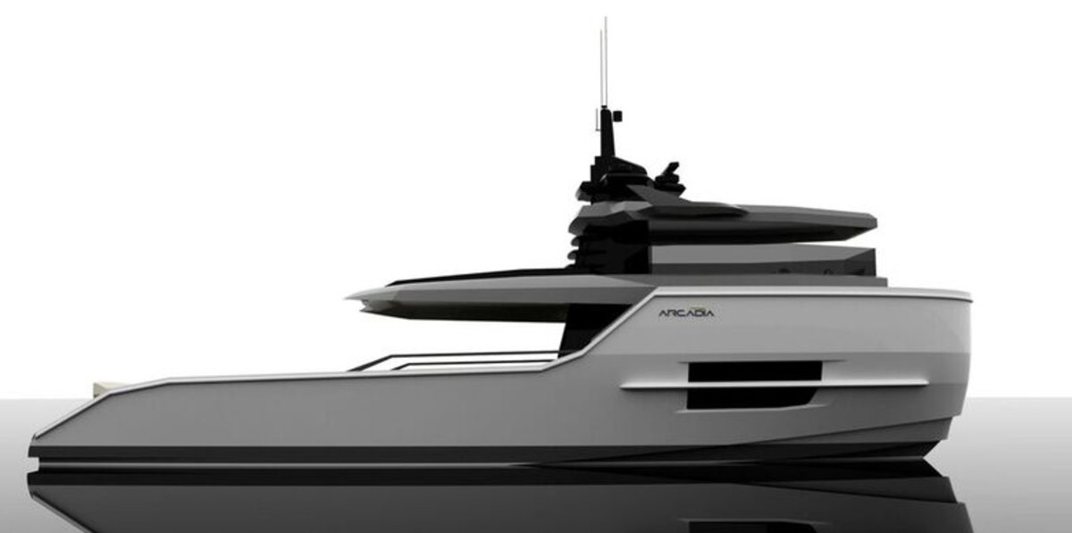 This is an Arcadia Yachts rendering of the Sherpa, which will debut in January at Boot Düsseldorf.
