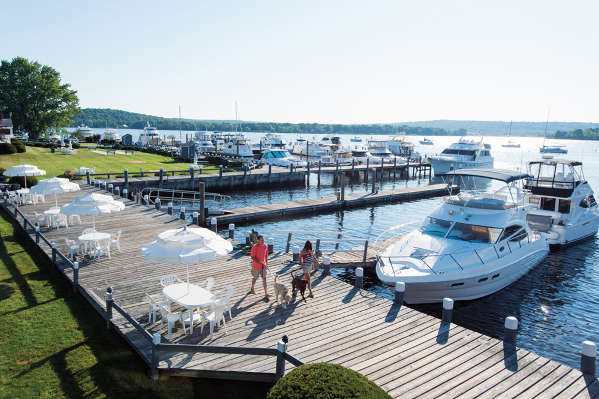 At the destination marinas that are prevalent today, people want more than a boat slip. Shown is Brewer Essex Island Marina in Essex, Conn.