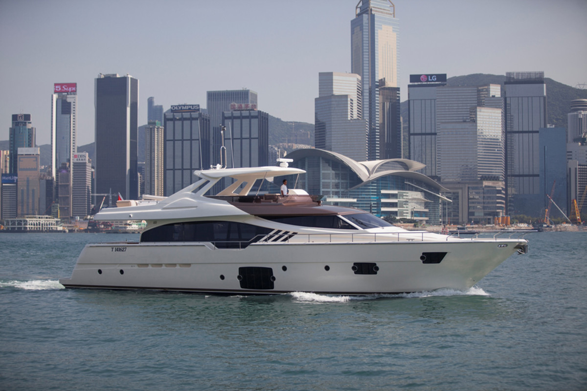 "The Ferretti Yachts 870 ""Tai He Ban"" will be on display later this week at the Hong Kong International Boat Show."
