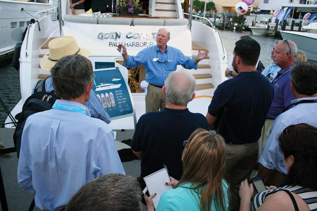 Hatteras Yachts CEO John Ward introduced the company's new 70 Motor Yacht.