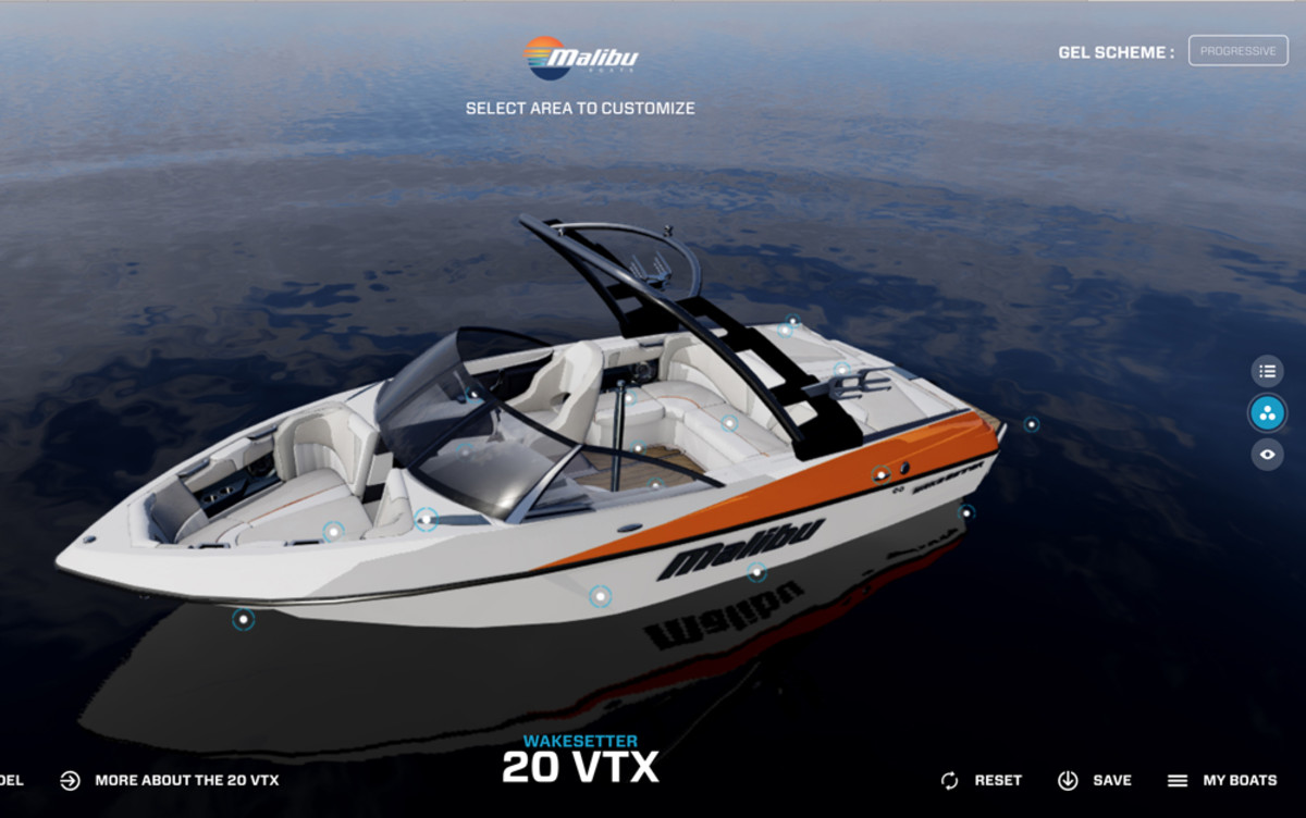 Malibu Boats' new website allows users to customize every detail of the boat in real time, even adjusting the lighting for the time of day.