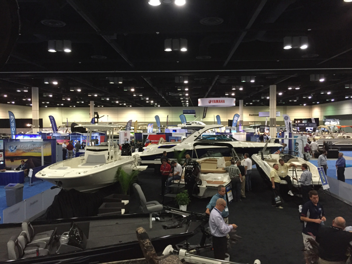 The exhibit hall was bustling with activity Tuesday afternoon. About 650 marine dealer professionals — a record — are attending this year's conference and expo.