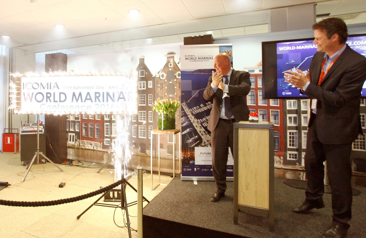 The 2016 ICOMIA World Marinas Conference announcement at METS came with a mini-fireworks display.