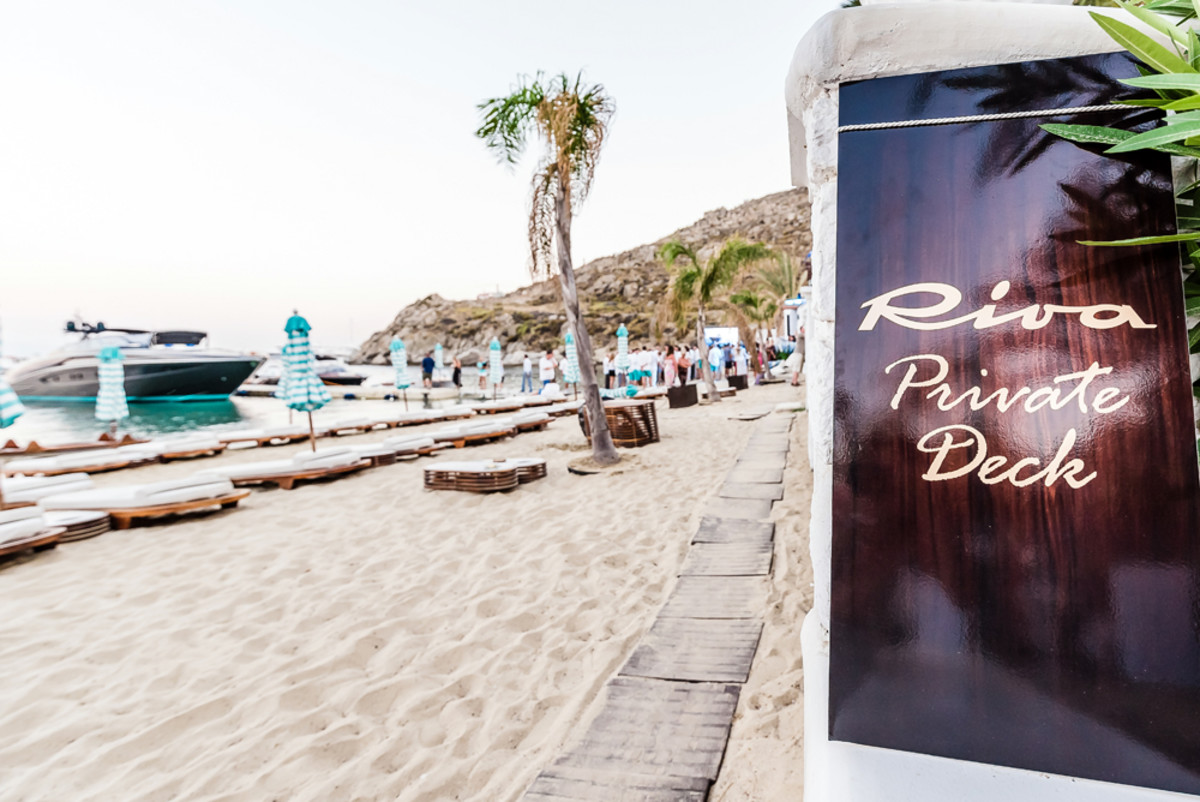 The Riva Private Deck is at Nammos Mykonos at Psarou Beach in Greece.