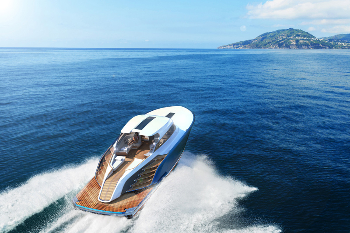 The Aeroboat S6 is powered by twin MTU V12 2000 M96 diesel engines.