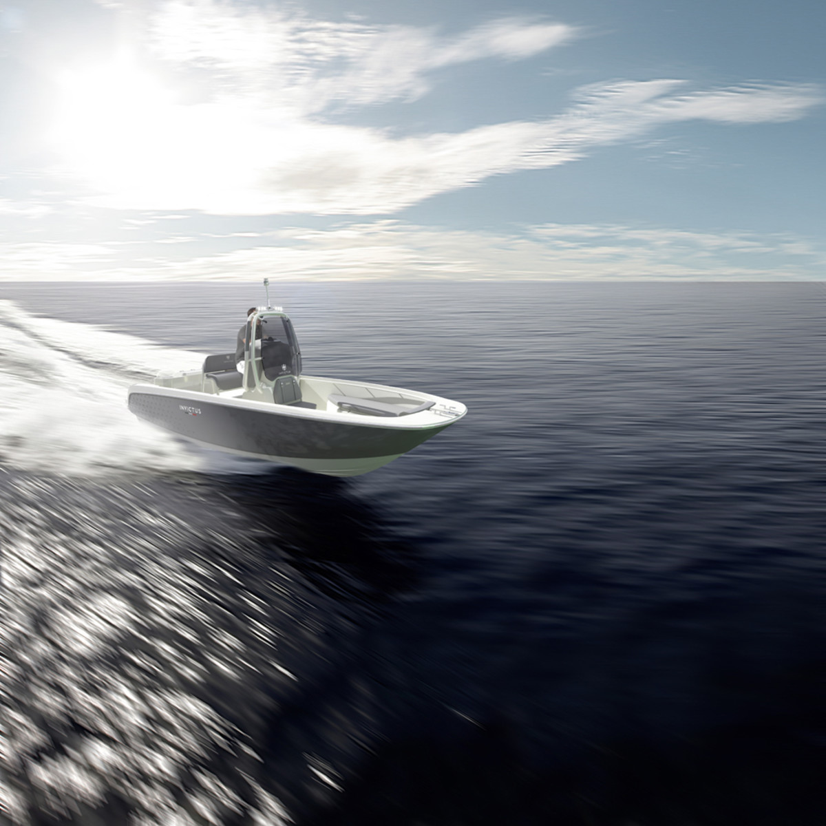 A rendering shows the new Invictus 200 HX. The hull has a beam of just under 8 feet and features a deep-vee design.