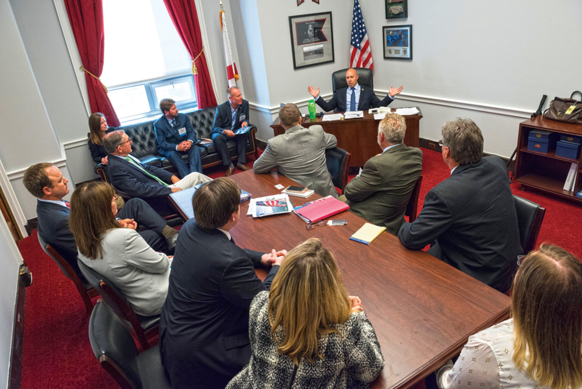 U.S. Rep. Brian Mast, R-Fla., hosts a marine industry delegation in his Capitol Hill office.  This kind of lobbying by individuals with their home district lawmakers is one of the most important aspects of the American Boating Congress, says the NMMA.