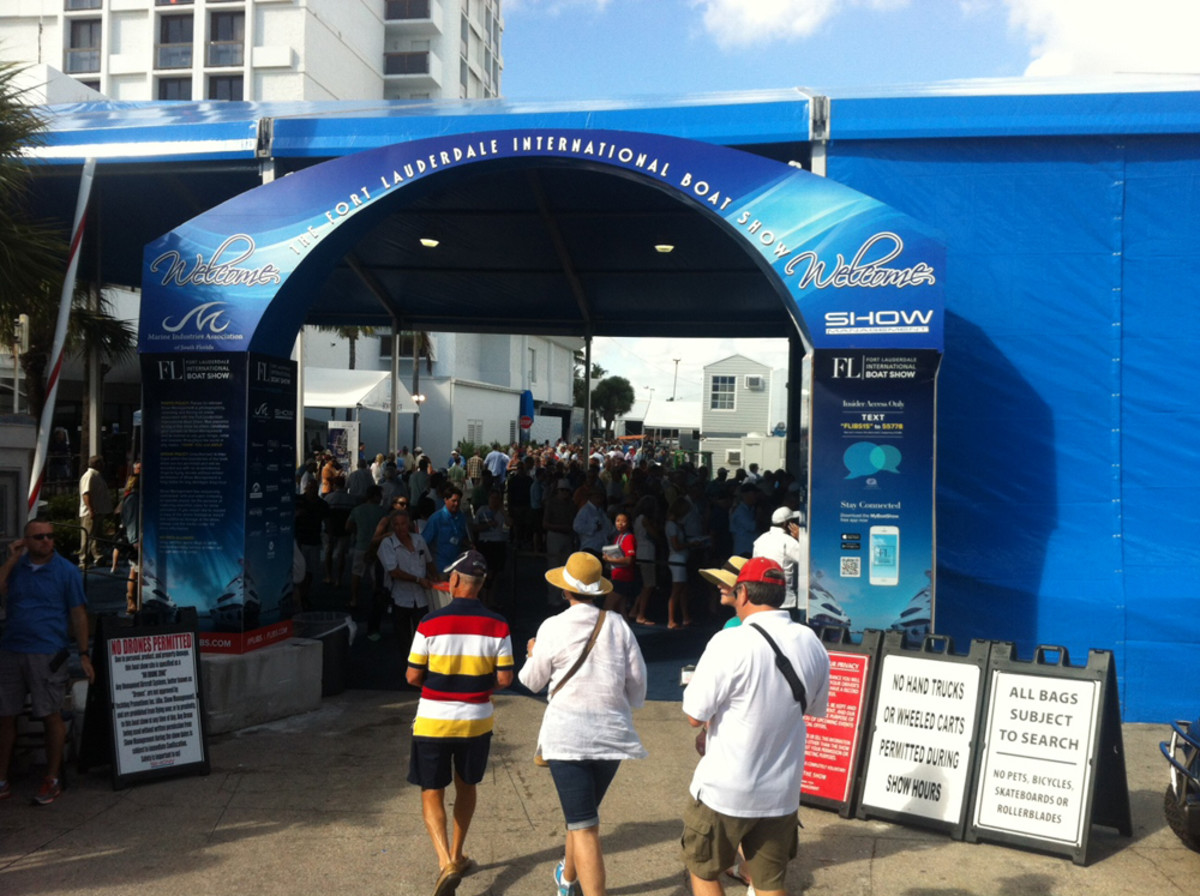 Warm, sunny weather greeted visitors today on the opening day of the Fort Lauderdale International Boat Show.