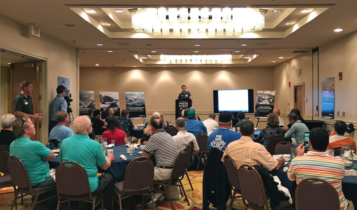 Pierini briefs the boating press at an Evinrude product event in June in Stuart, Fla.