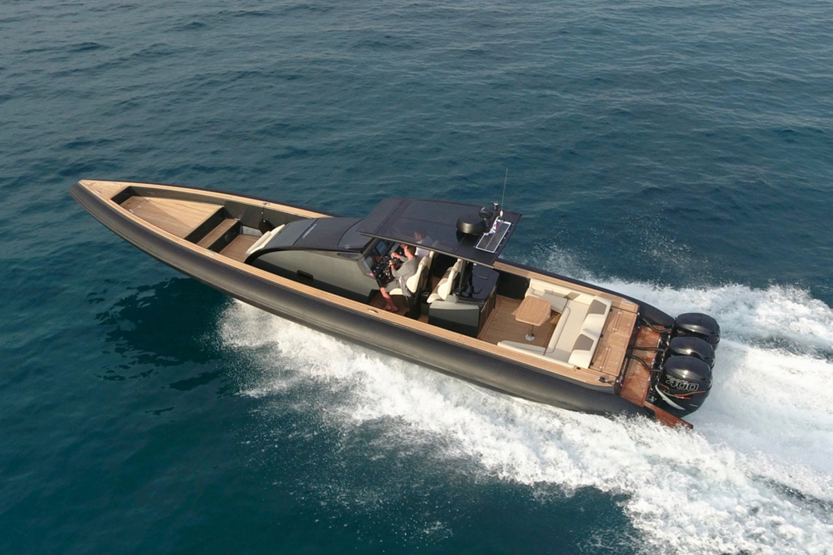 The Omega 41 is available with triple outboards or twin inboards.