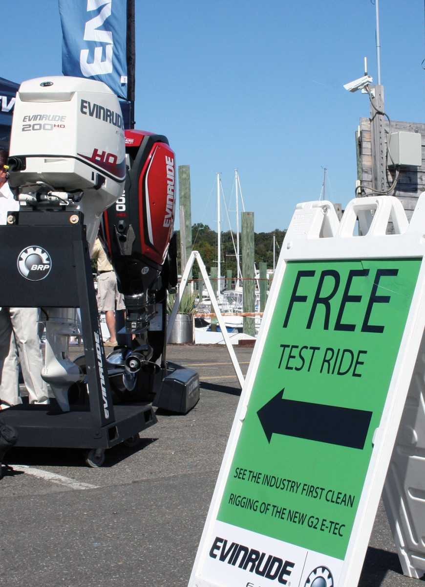 "BRP offered free test rides to showcase its E-TEC G2 ""clean-burning"" 2-stroke outboard."