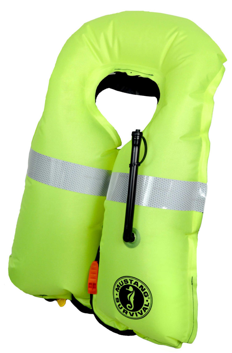 The bladder of the MD315 and MD318 series life jackets affected by the Mustang recall is fluorescent green and made in Canada.