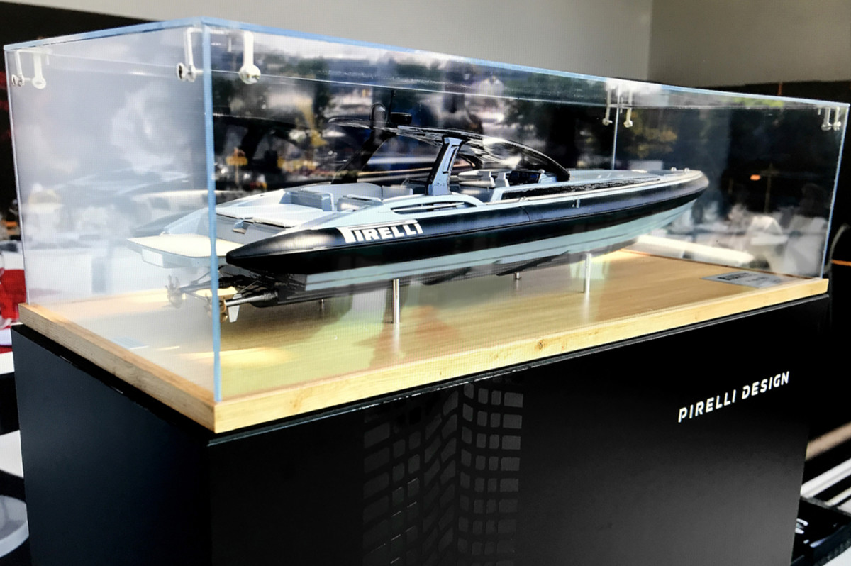 A scale model of the Pirelli 1900 RIB was on display at the Monaco Yacht Club in Monte Carlo.