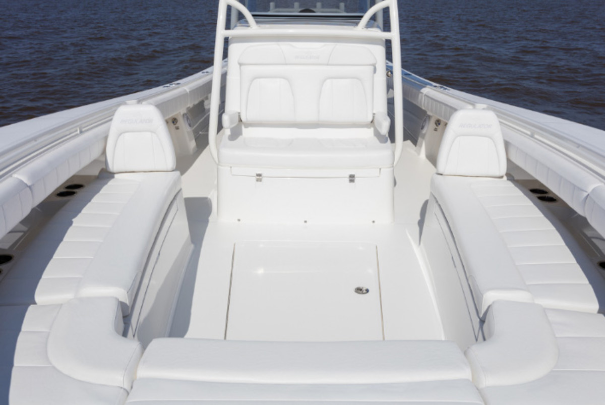 Among the upgrades for the Regulator 34 are backrests for the bow lounges.