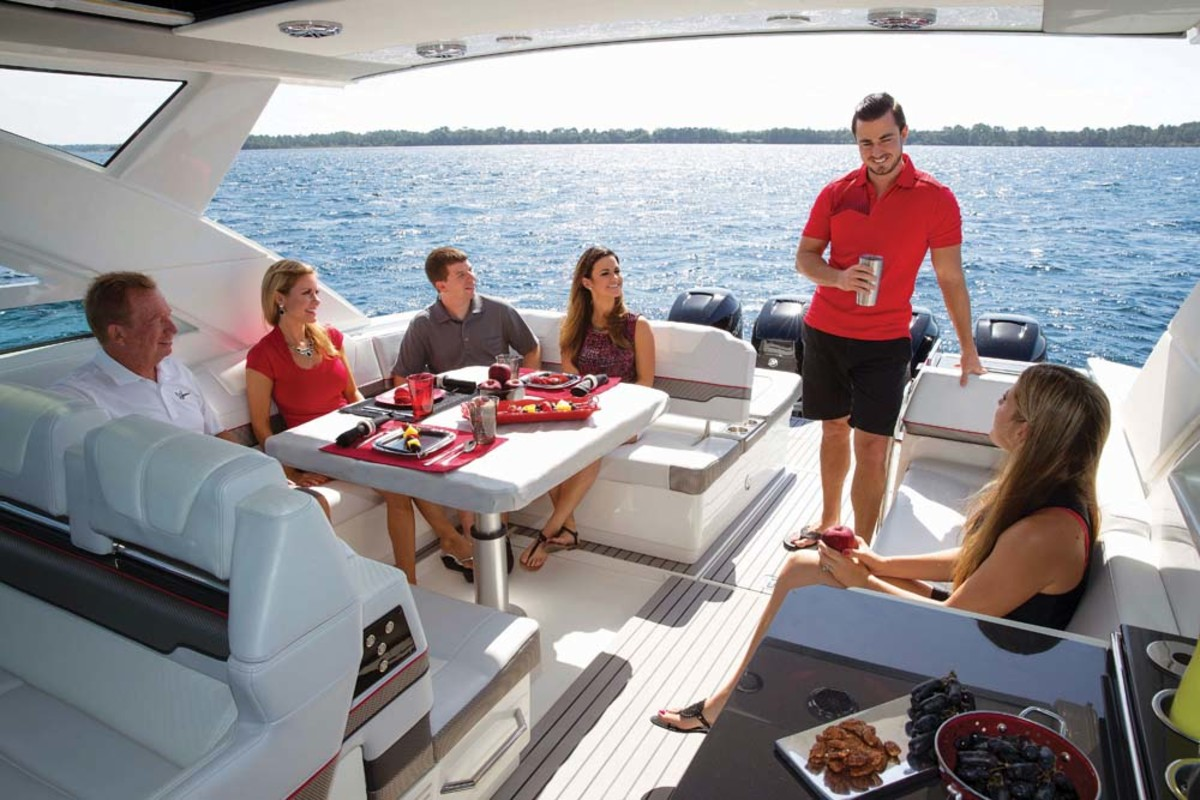 The boat has a spacious feel, with plenty of room for family and friends to just hang out.
