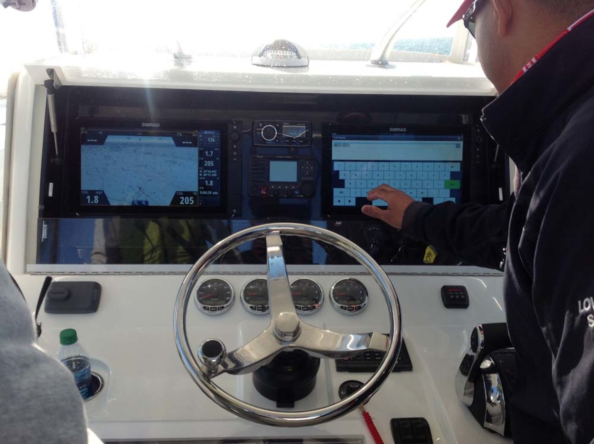 Journalists got a chance Tuesday to test Navico products at a press event in the Florida Keys, including B&G electronics for sailboats. These large multifunction displays were mounted on a 55-foot Oceanis sailboat from Beneteau.