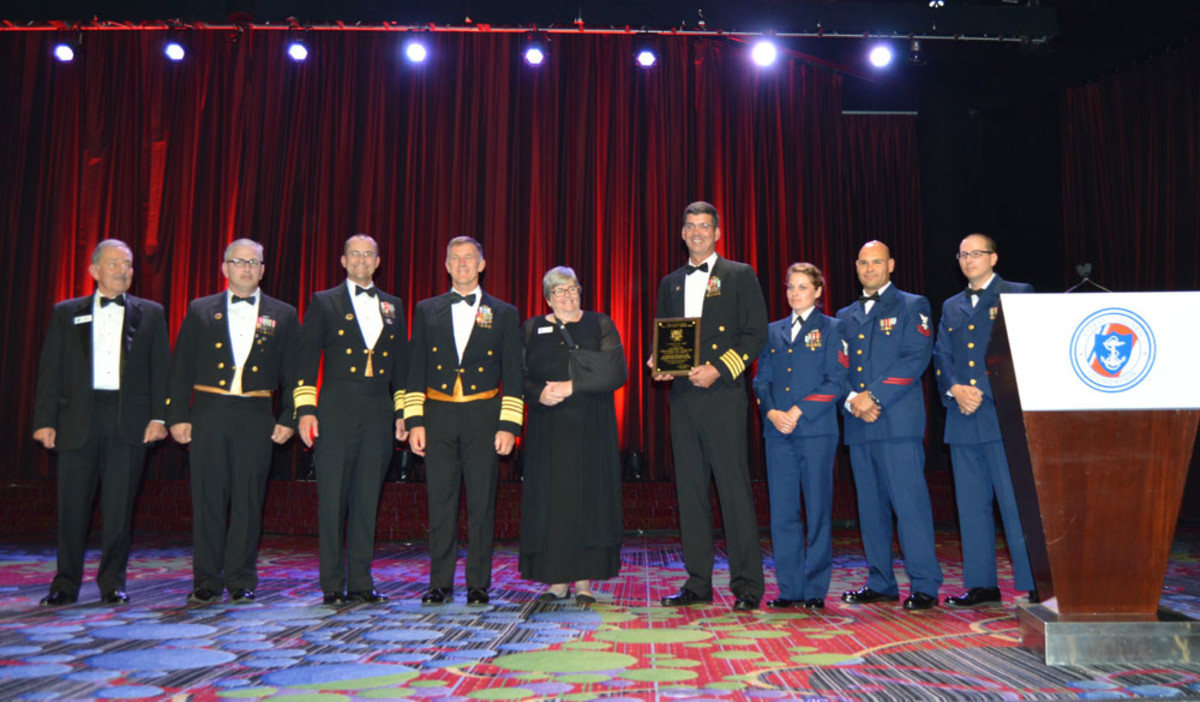 Members of the Coast Guard cutter Stratton were among those recognized at the event.