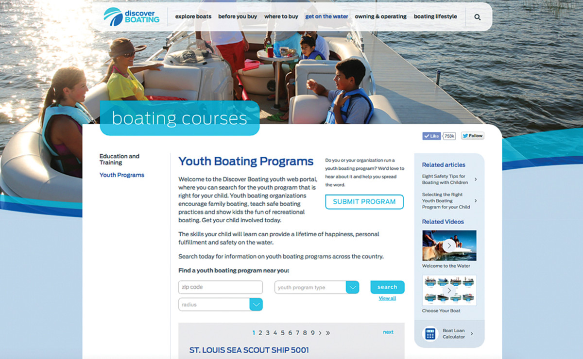 More than 3,000 local and national youth boating programs are listed at the Discover Boating website.