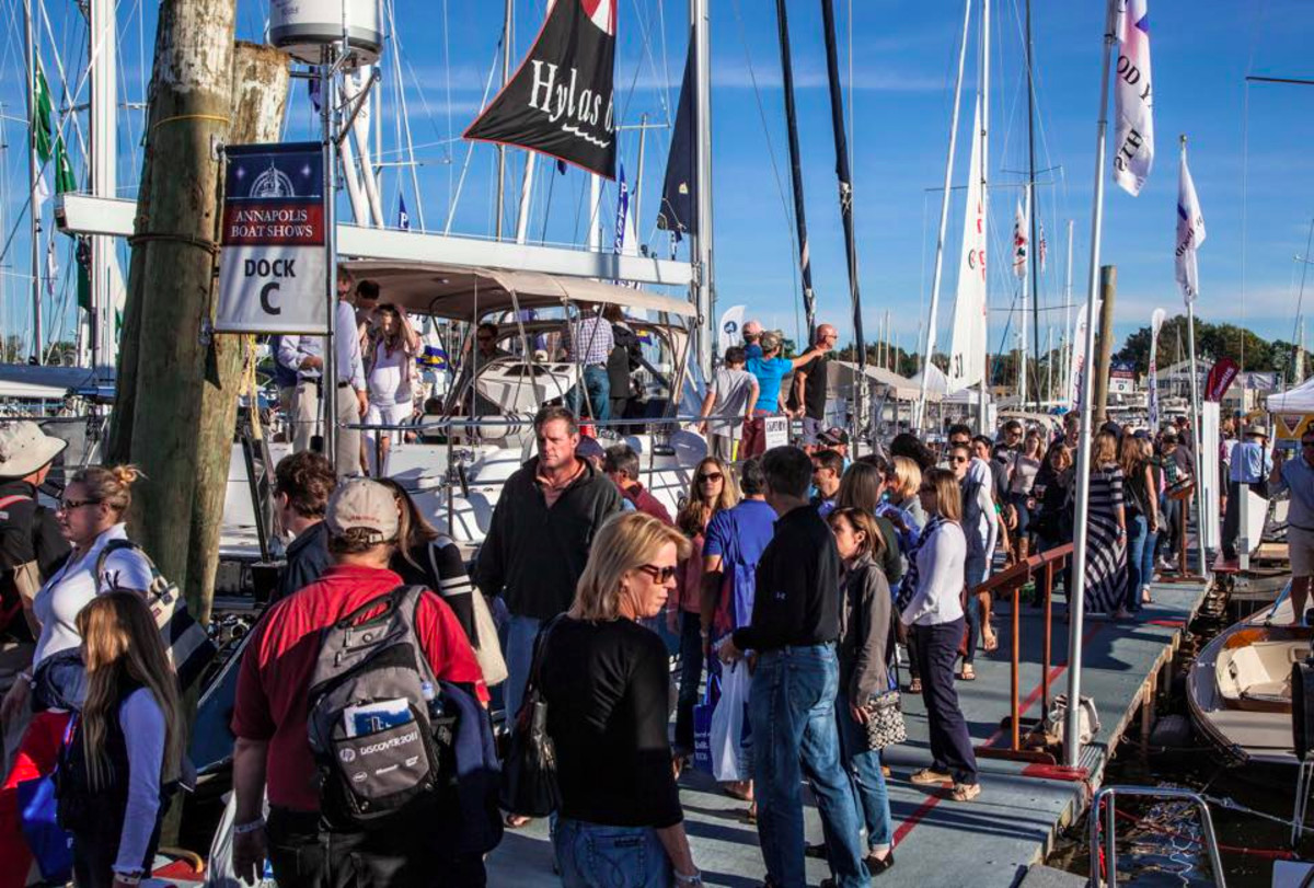 Crowds gather at the U.S. Sailboat Show in Annapolis. Organizers said attendance increased and dealers and exhibitors reported strong sales. CREDIT: Josh Davidson for the U.S. Sailboat Show