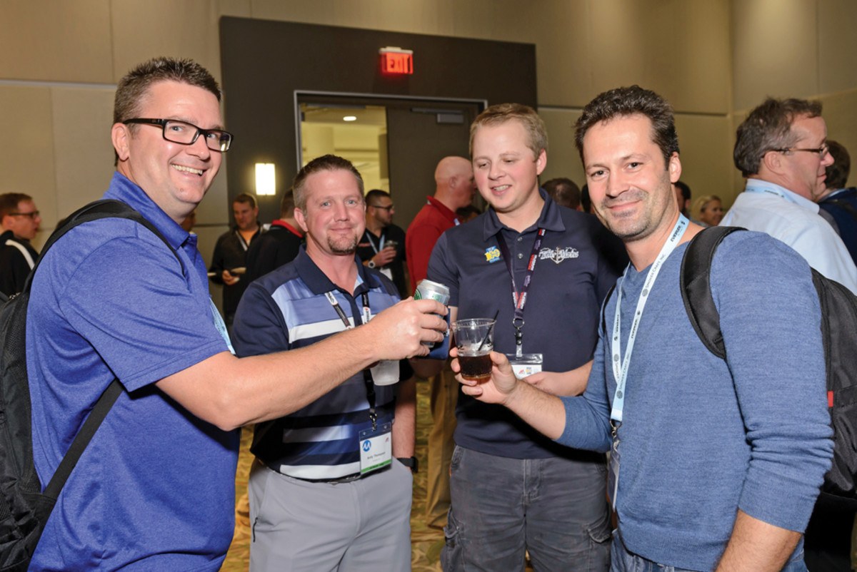 Participants attend a mixer during an MRAA event for young professionals at the 2015 Marine Dealer Conference & Expo.