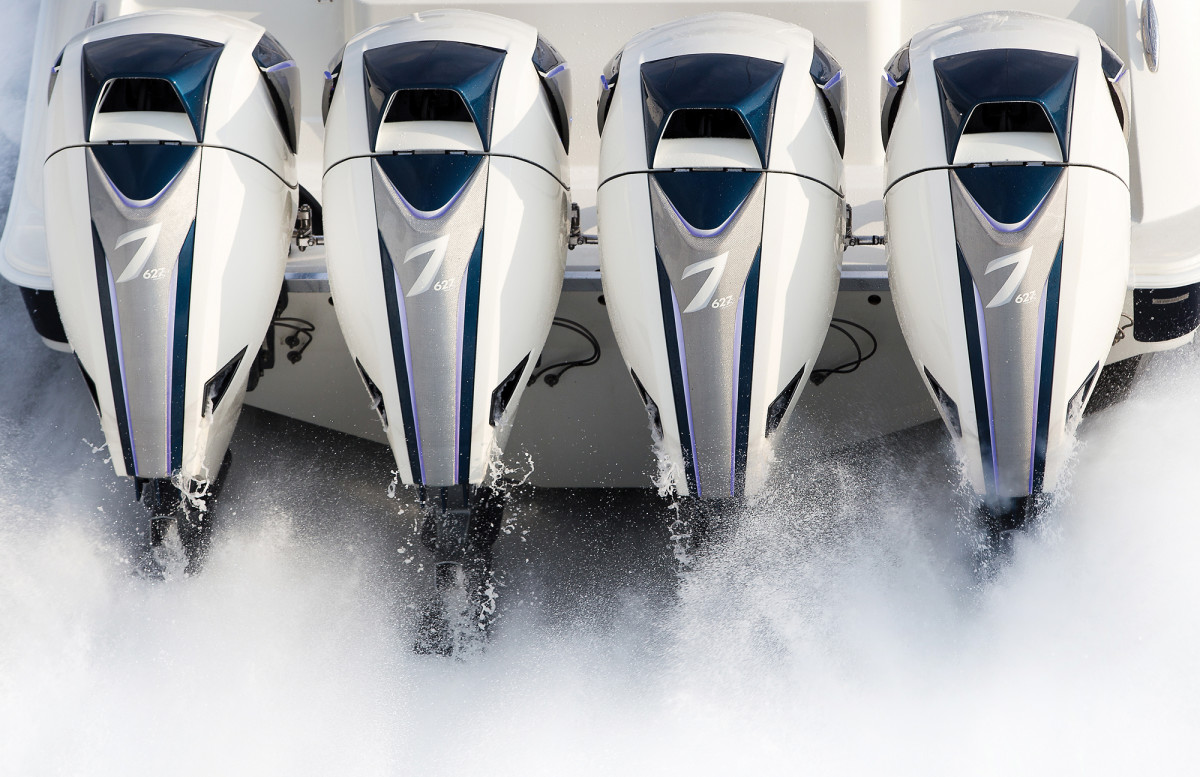 Quad Seven Marine 627 outboards pack a punch of more than 2,500 hp — more than enough to meet most demands.