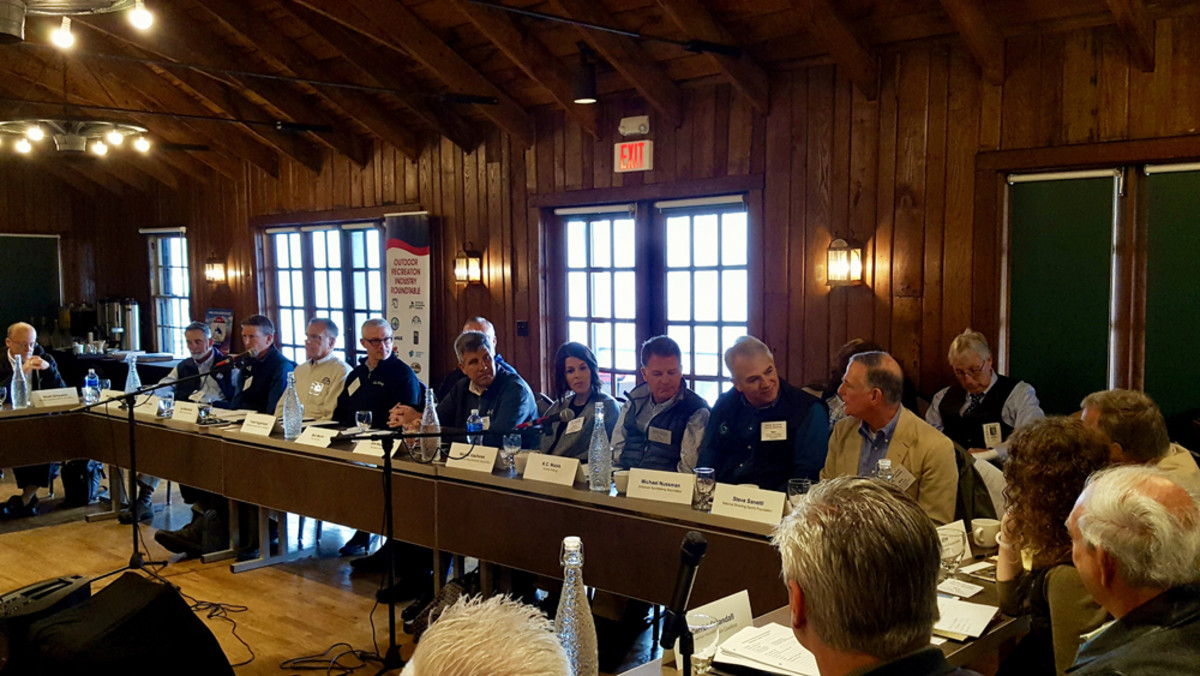 Nicole Vasilaros, vice president of federal and legal affairs for the National Marine Manufacturers Association (fourth from right), participates in an Outdoor Recreation Industry Roundtable meeting on Monday with the federal Department of the Interior.