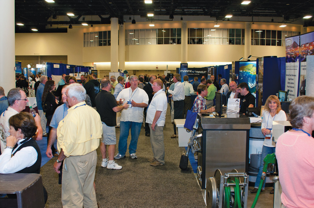 The IMBC Exhibit Hall showcases the latest in products and services in the marina industry.