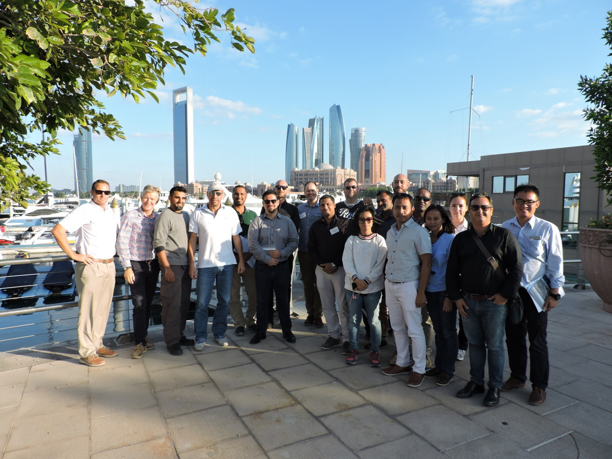 Participants in the Intermediate Marina Management course are shown at the Emirates Palace Marina in Abu Dhabi.