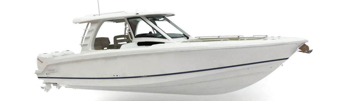The 350 is the first model in the Realm series of boats.