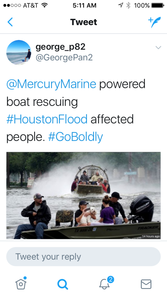 A Mercury Marine-powered boat is shown at work in Houston.
