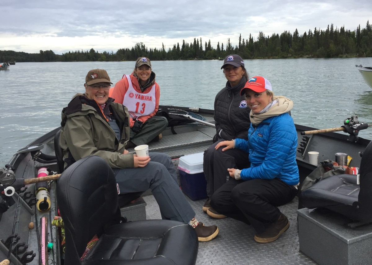 Kenai River Sportfishing Association board president Kristin Mellinger (left); Kasey Loomis, owner and guide at Eric Loomis Fishing; Alaska state Rep. Charisse Millett; and Kari Bustamante, sports director at NBC affiliate KTUU, are shown fishing at the Kenai River Classic
