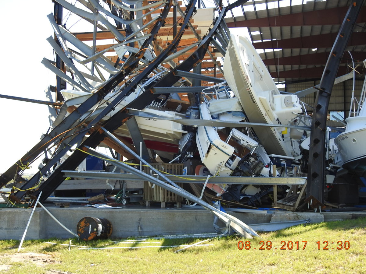This photo from the BoatUS Catastrophe Team shows Cove Harbor Marina and Drystack in Rockport, Texas, which took a direct hit from Hurricane Harvey. BoatUS cautions boaters to never enter a storm-affected facility without permission. Photo courtesy of BoatUS
