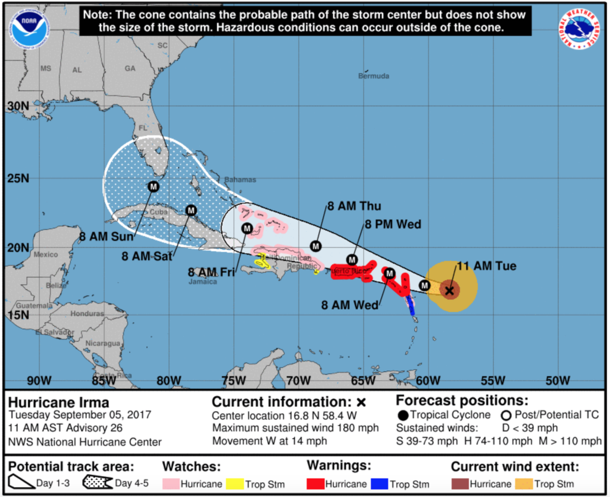 Map of the path of Hurricane Irma