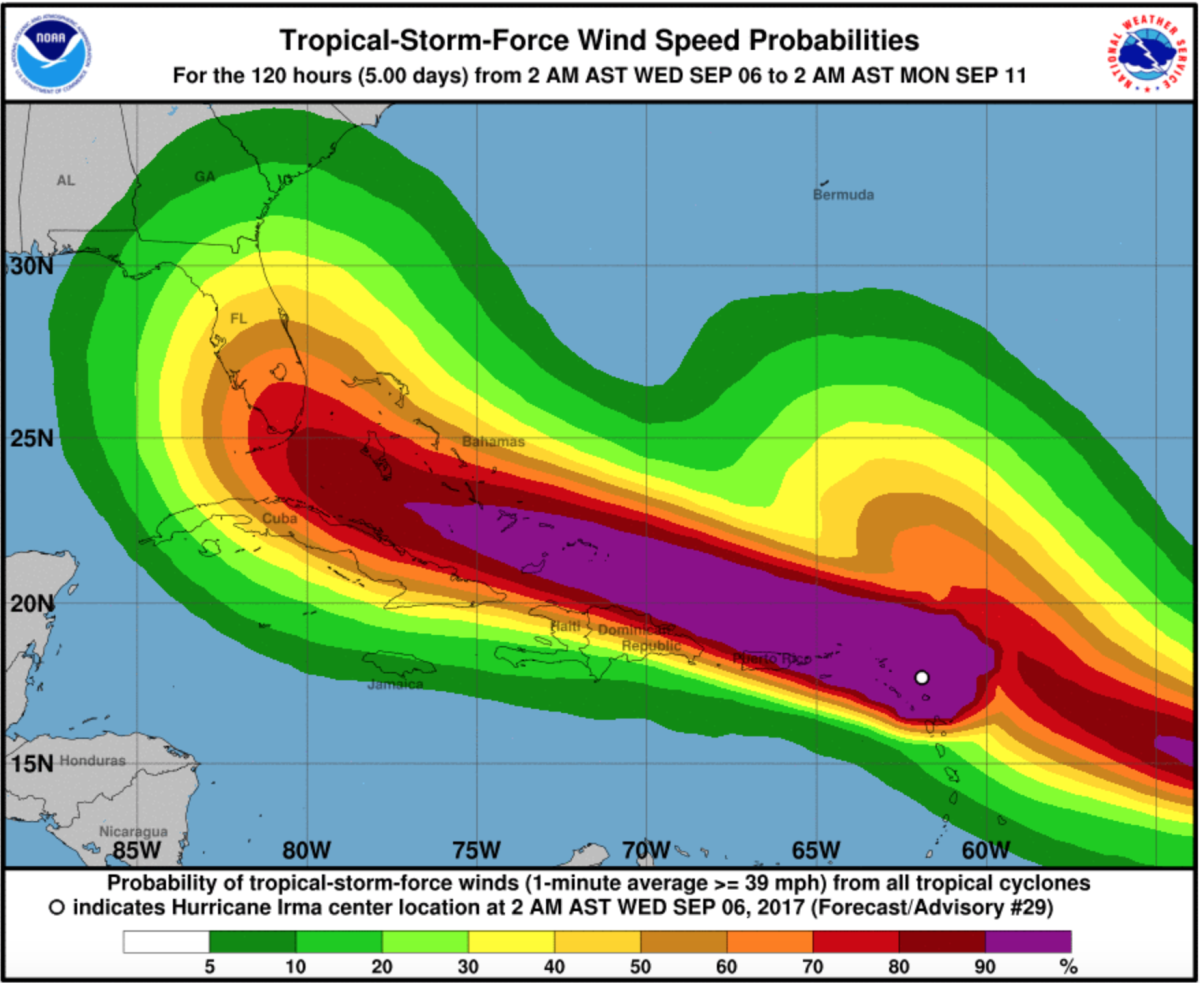 Map of Irma's wind speed probabilities, provided by the National Hurricane Center