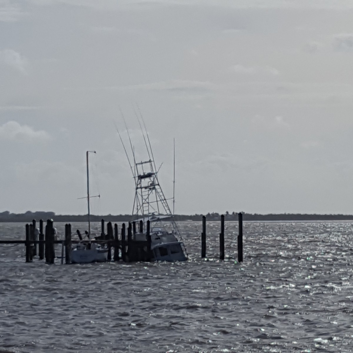Sea Lion, an iconic 1963 Whiticar, is shown sunk at the dock in Jensen Beach, Fla. Winds were about 80 mph on Sunday.