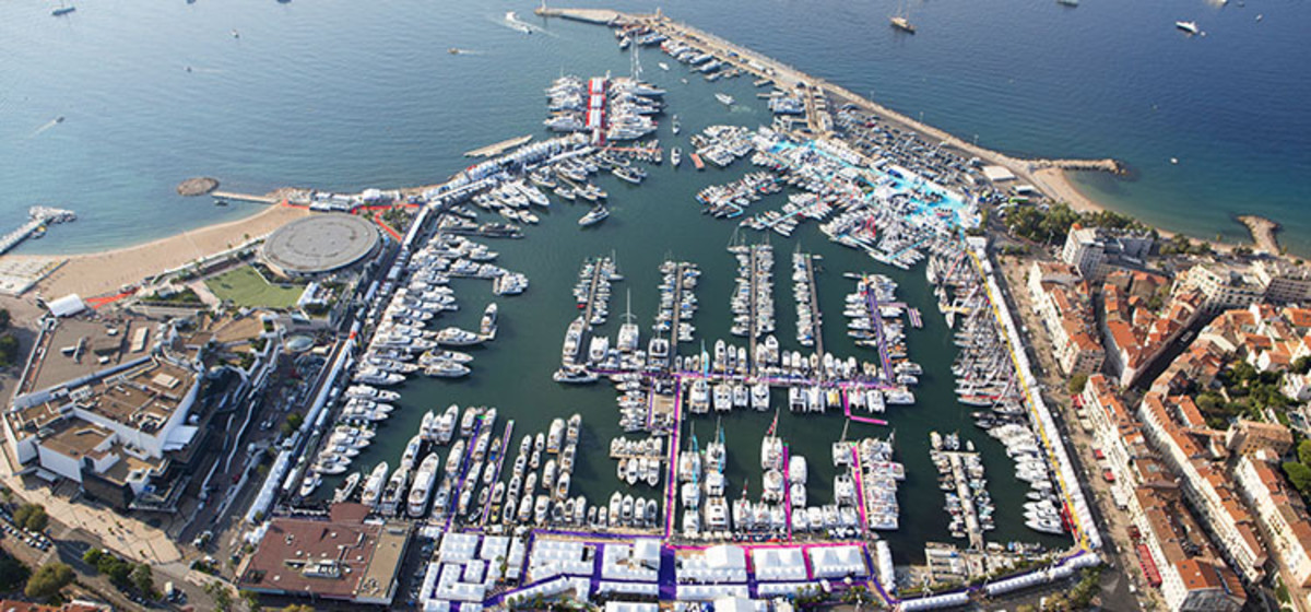 Overheard shot of Cannes boat show