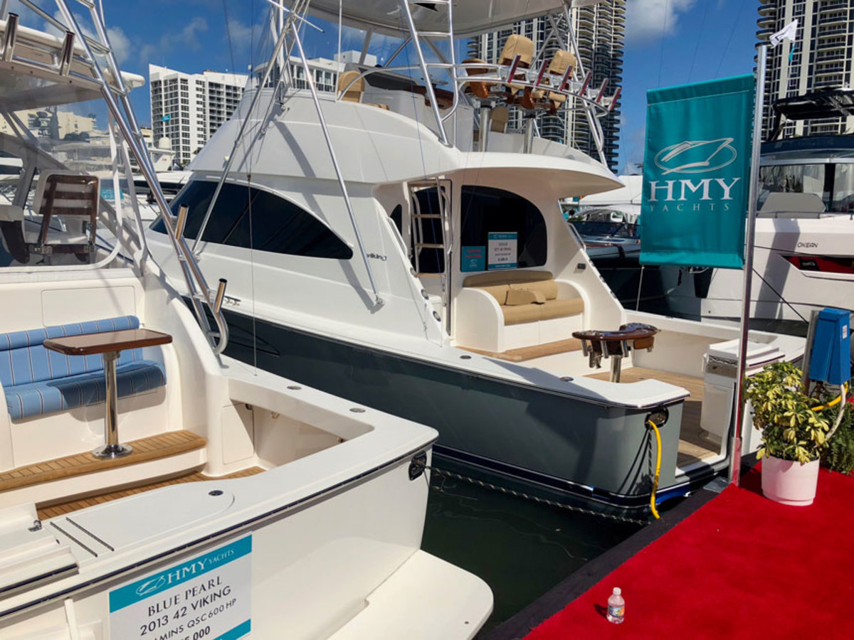 The Miami Yacht Show, shown here, is moving from its home on Collins Avenue to Biscayne Bay in 2019. Organizers of the show are working with Miami International Boat Show owners to decide whether to shift the dates of both shows next year; no decision has been made.