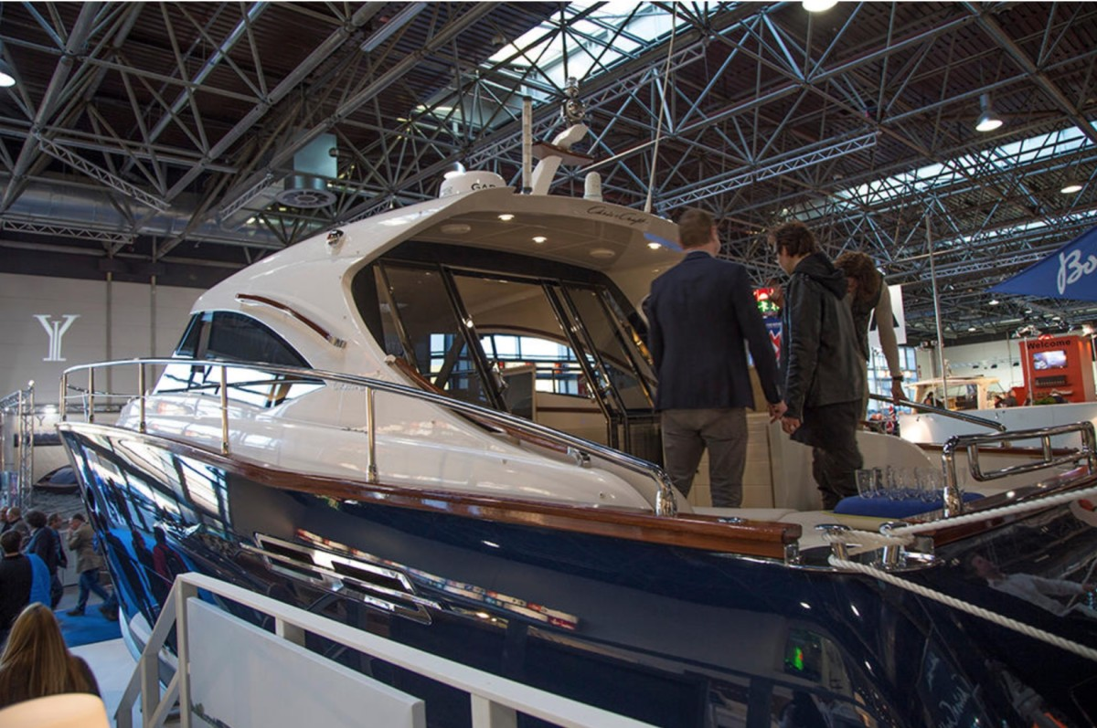 U.S.-built boats are among the items the EU has said it will impose retaliatory tariffs on should President Trump follow through with his threat to impose levies on aluminum and steel imports. Shown here is a U.S.-built Chris-Craft at the Düsseldorf boat show.